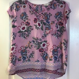 Floral print purple/pink top